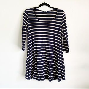 BDG Urban Outfitters Navy Striped 3/4 Sleeve Dress